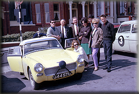 L-R Bob Rigby, Reg McBride, Gill Barrow (crouching), Phil Simister, Jane Roberts, Barrie Potts, Barbara Grange & Frank Grange