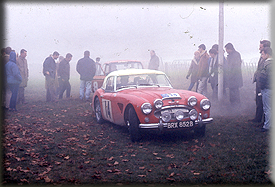 Timo Makinen & Don Barrow - Works Austin Healey 3000 - 1964 RAC Rally - Main OUT Control Oulton Park paddock area