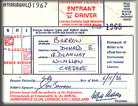 1968 RAC Competition Licence
